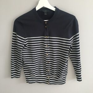 J.Crew Jackie Cardigan In Striped Anchor Button